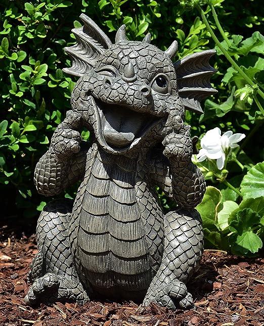 MystiCalls by Mayer Chess - Figura de jardín con dragón Sonriente: Amazon.es: Jardín