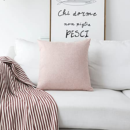 Home Brilliant Lined Linen Cushion Cover Square Throw Pillow Case For Sofa /Bench/Couch