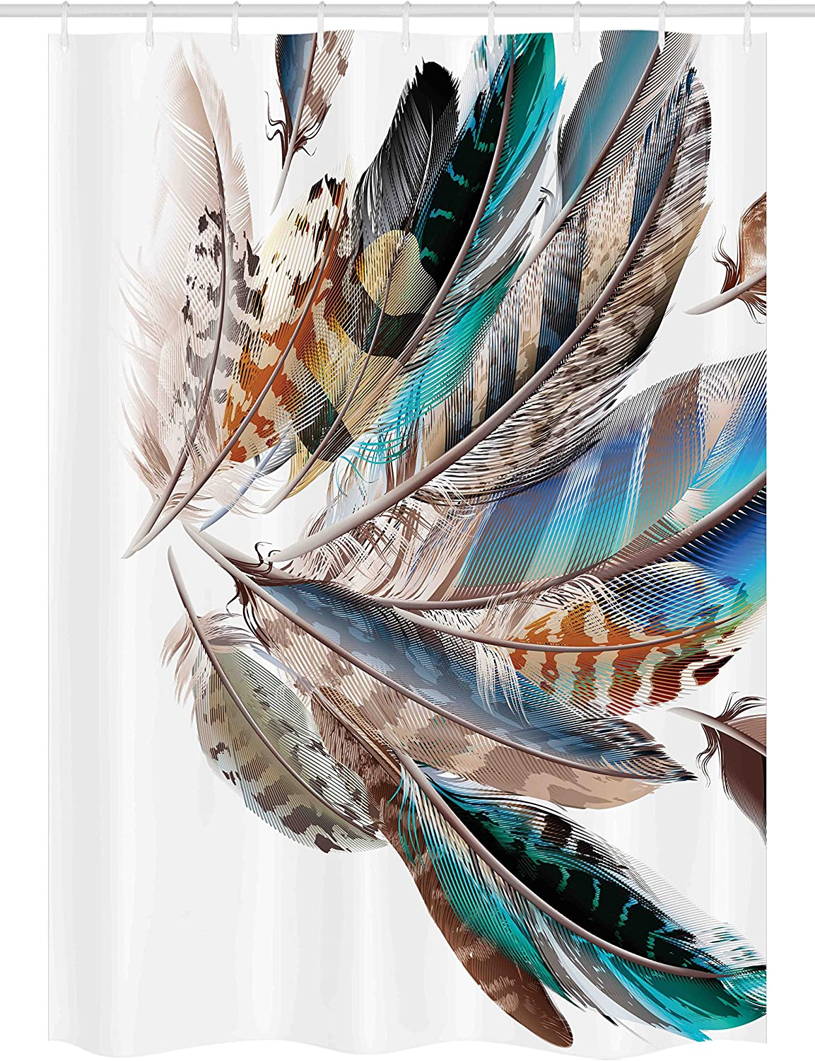 "Ambesonne Feathers Stall Shower Curtain, Vaned Types and Natal Contour Flight Bird Feathers and Animal Skin Element Print, Fabric Bathroom Decor Set with Hooks, 54"" X 78"", Teal Brown"