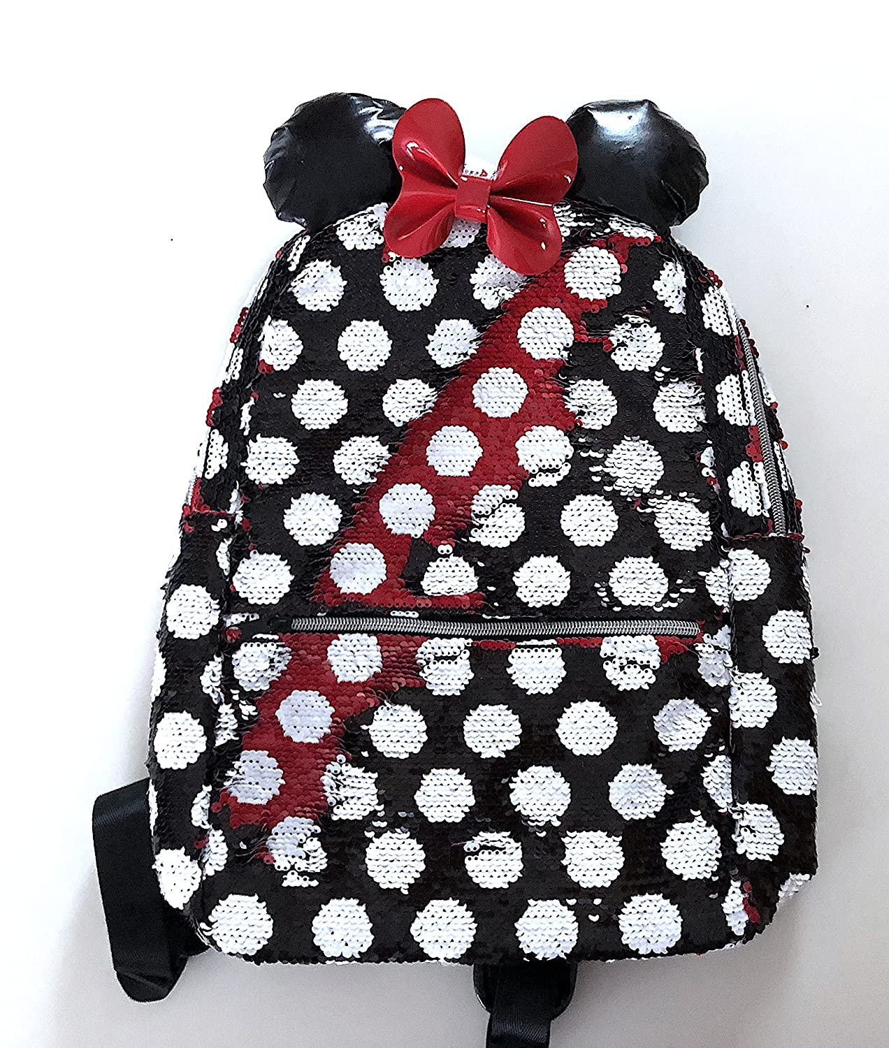 Amazon.com  Disney Parks Minnie Mouse Reversible Sequin Color Red Black  Polka Dot Backpack  Shoes a4a73e2a0860c