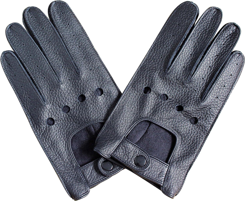 Schwarz Jasmine Silk Herren-Handschuhe echtes Hirschleder