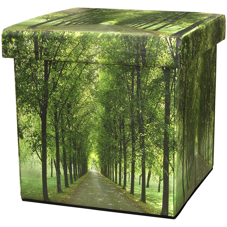 ORIENTAL FURNITURE Path of Life Storage Ottoman CAN-BOX-PATH-B