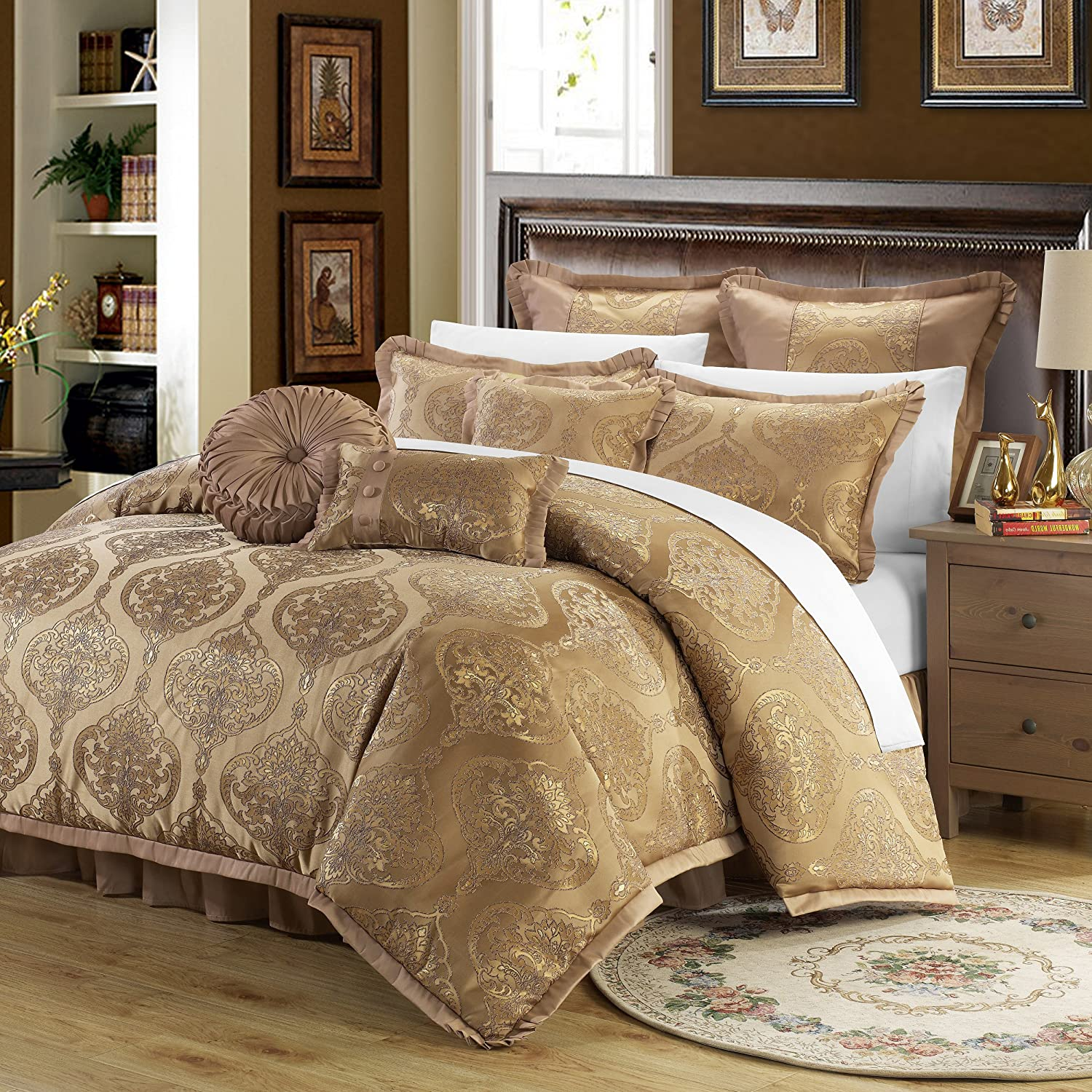 Perfect Home 9 Piece Bonito Decorator Upholstery Quality Jacquard Motif  Fabric Complete Master Bedroom Comforter Set and pillows Ensemble. Queen,  Gold