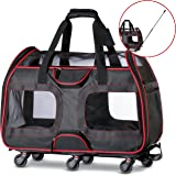 "WPS Airline Approved Pet Carrier with Wheels For Small Dogs and Cats - Removable Fleece Bed, Soft Sided, Mesh Windows, Leash Clip, Handle, Carrying Strap – 11""x22""x16"" - Classic Design - By"