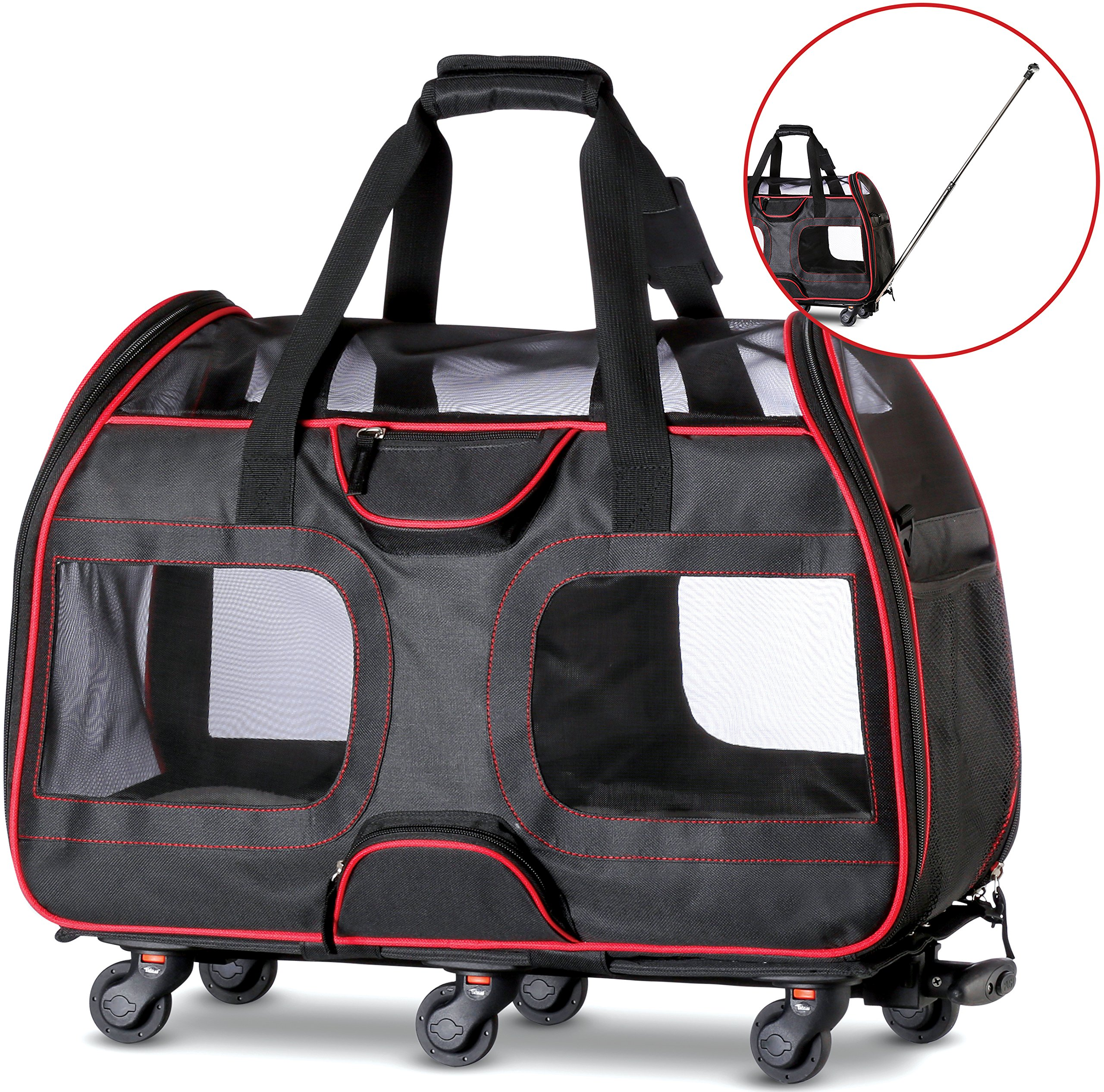 WPS Airline Approved Removable Wheeled Pet Carrier for Small Pets. Upgraded Structural Design for Ultimate Strength, Features Mesh Panels & Plush Mat. Compact and Durable. 19''x22''x11'' (Black) by WPS