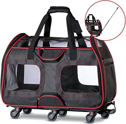 Amazon Com Wps Airline Approved Pet Carrier With Wheels For Small
