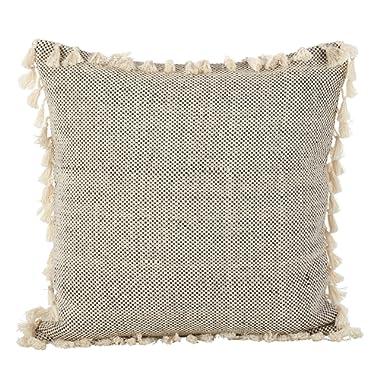 SARO LIFESTYLE Moroccan Design Tasseled Fringe Cotton Down Filled Throw Pillow 20  Ivory