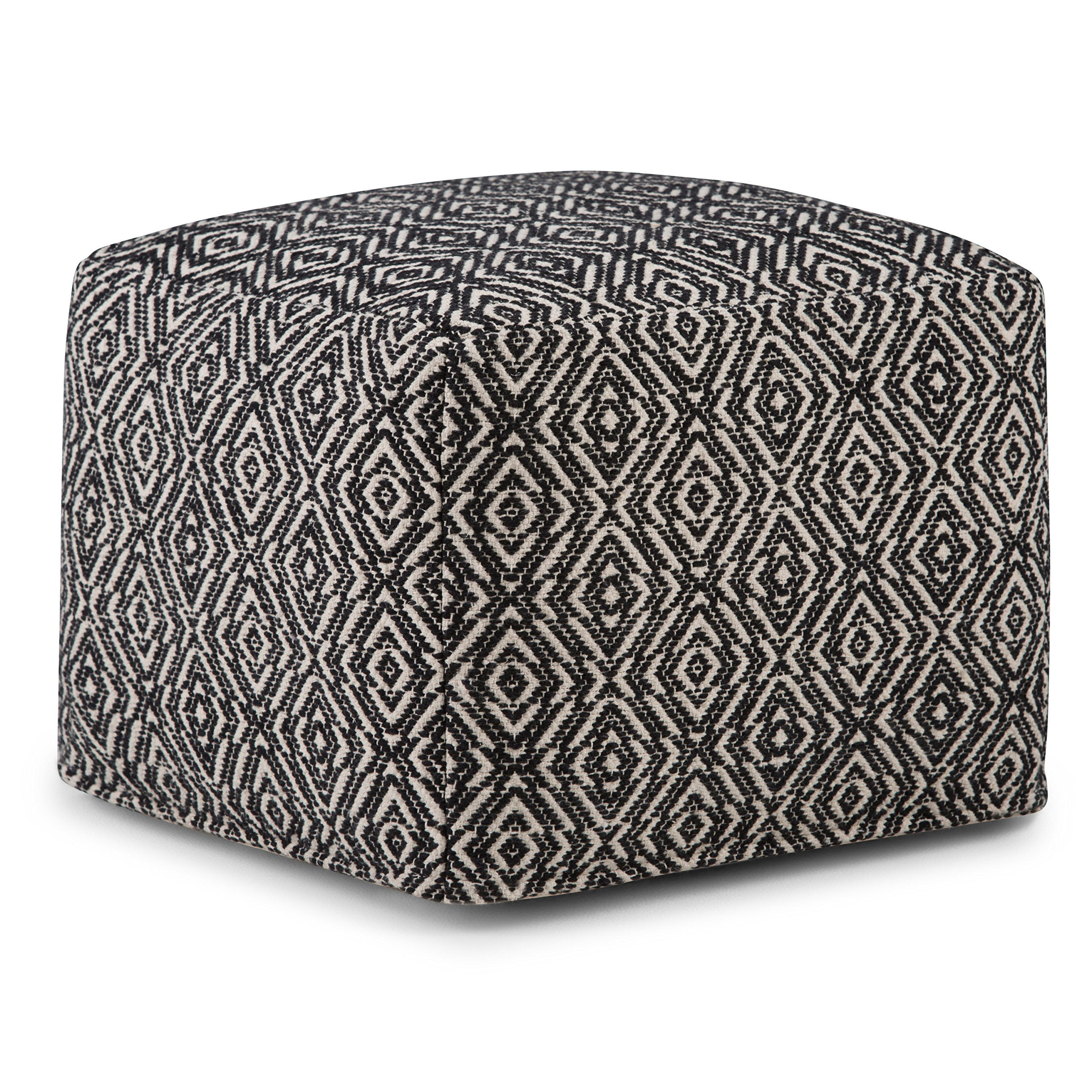 Simpli Home AXCPF-03 Graham Transitional Square Pouf in Patterned Black, Natural Cotton by Simpli Home