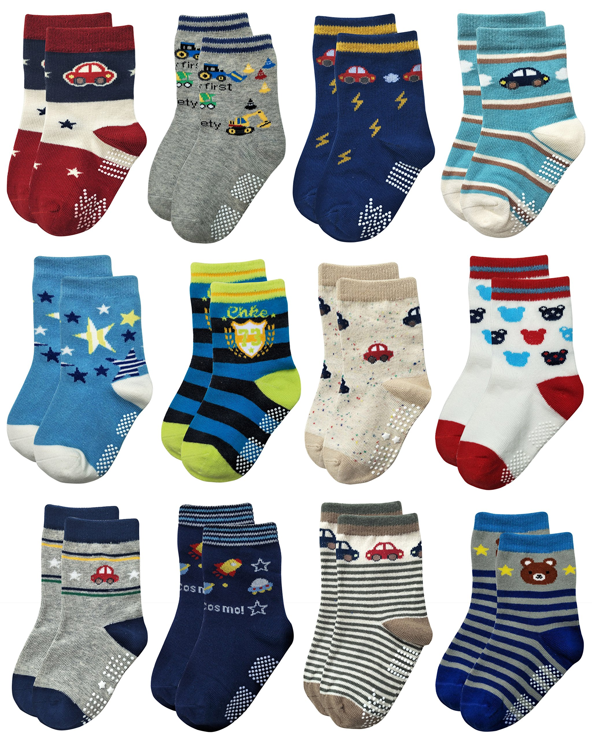 Deluxe RB-71518 Non Skid Anti Slip Slipper Cotton Crew Socks With Grips For Baby Toddlers Kids Boys (9-18 Months, 12 designs/RB-71218)