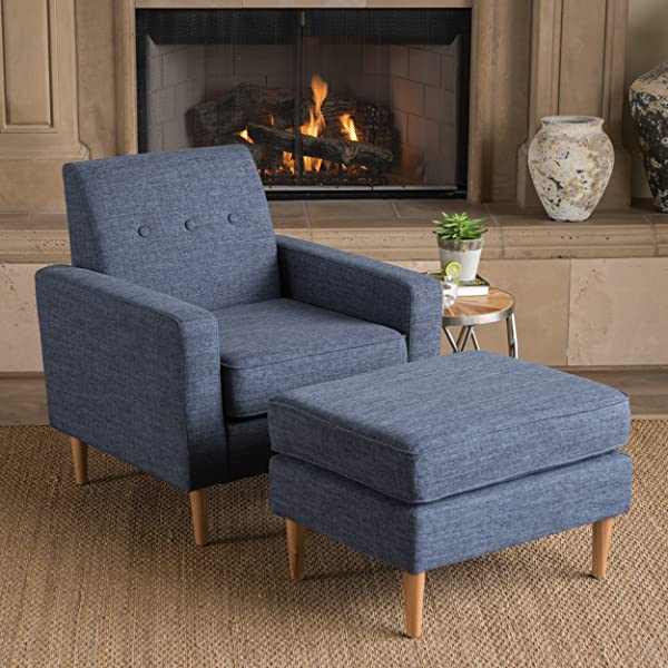 Great Deal Furniture Samuel Mid Century Modern Dark Blue Fabric Club Chair and Ottoman Set
