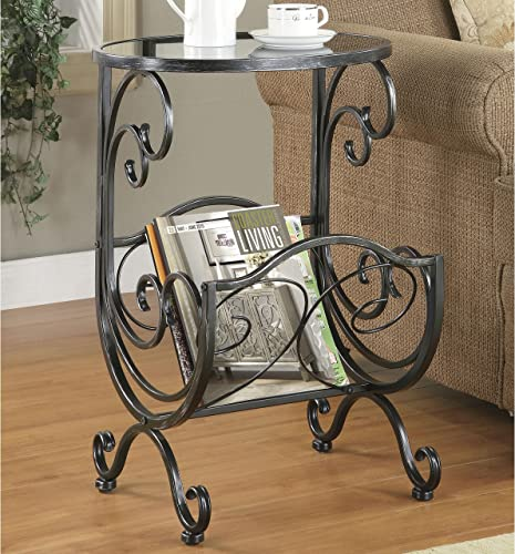 Wildon Home Yuma Side Table with Magazine Rack in Gun Metal