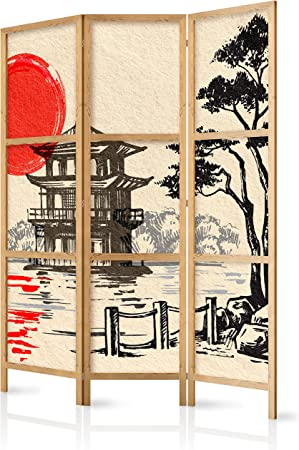 murando - Biombo Japan Oriente Zen 135x171 cm 3 Paneles Lienzo de Tejido no Tejido Tela sintética Separador Madera Design de Moda Hecho a Mano Deco Home Office Japón p-B-0026-z-b: Amazon.es: Hogar
