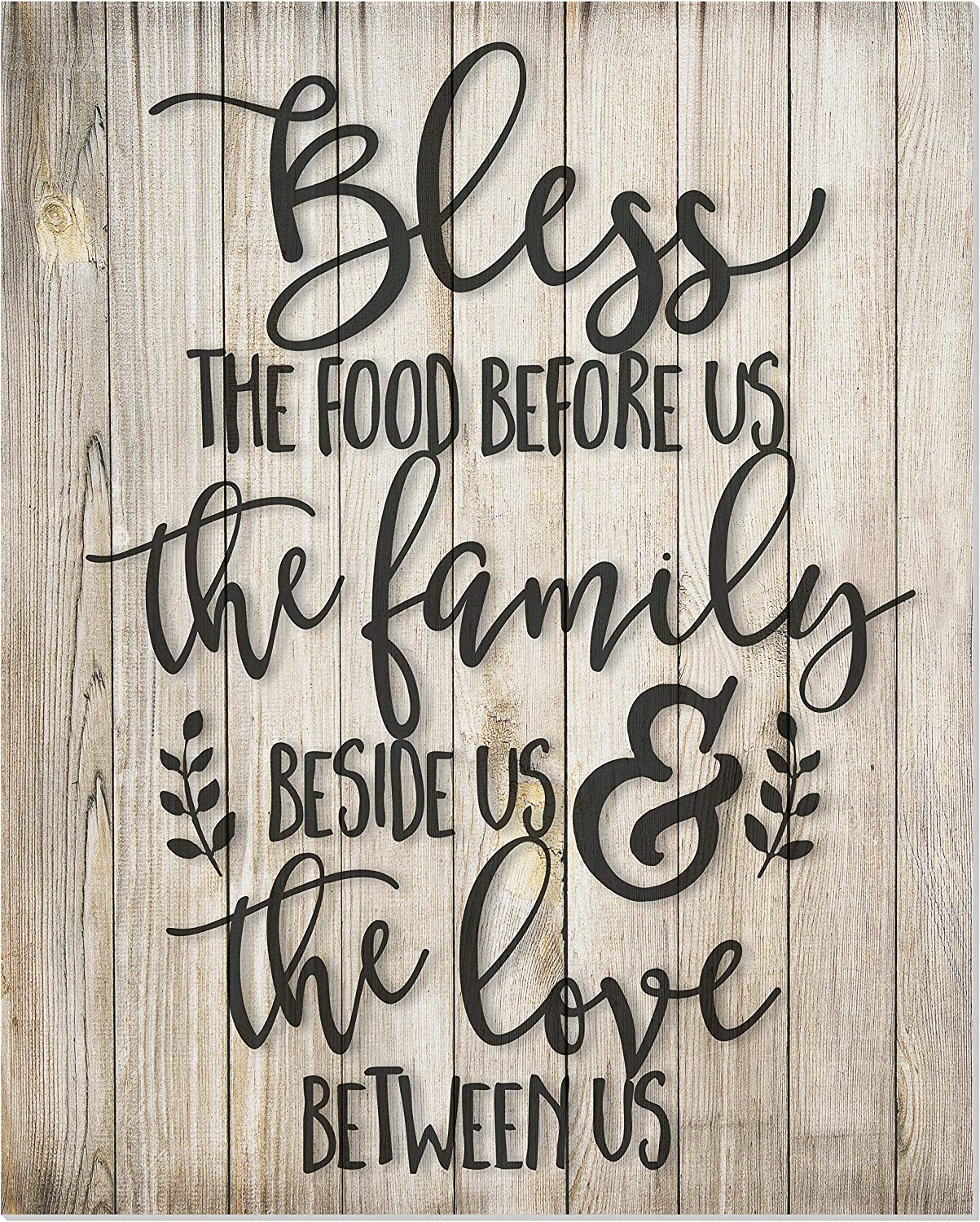 Bless The Food Before us Rustic Wood Style Wall Sign 12x15
