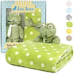 JOIE BEAN Baby Blanket and Stuffed Animal Set for Boys, Girls   2 Piece Plush Toy Frog and Soft Fleece Security Throw Blanket for Baby, Newborn   Perfect Baby Shower Present (Green)