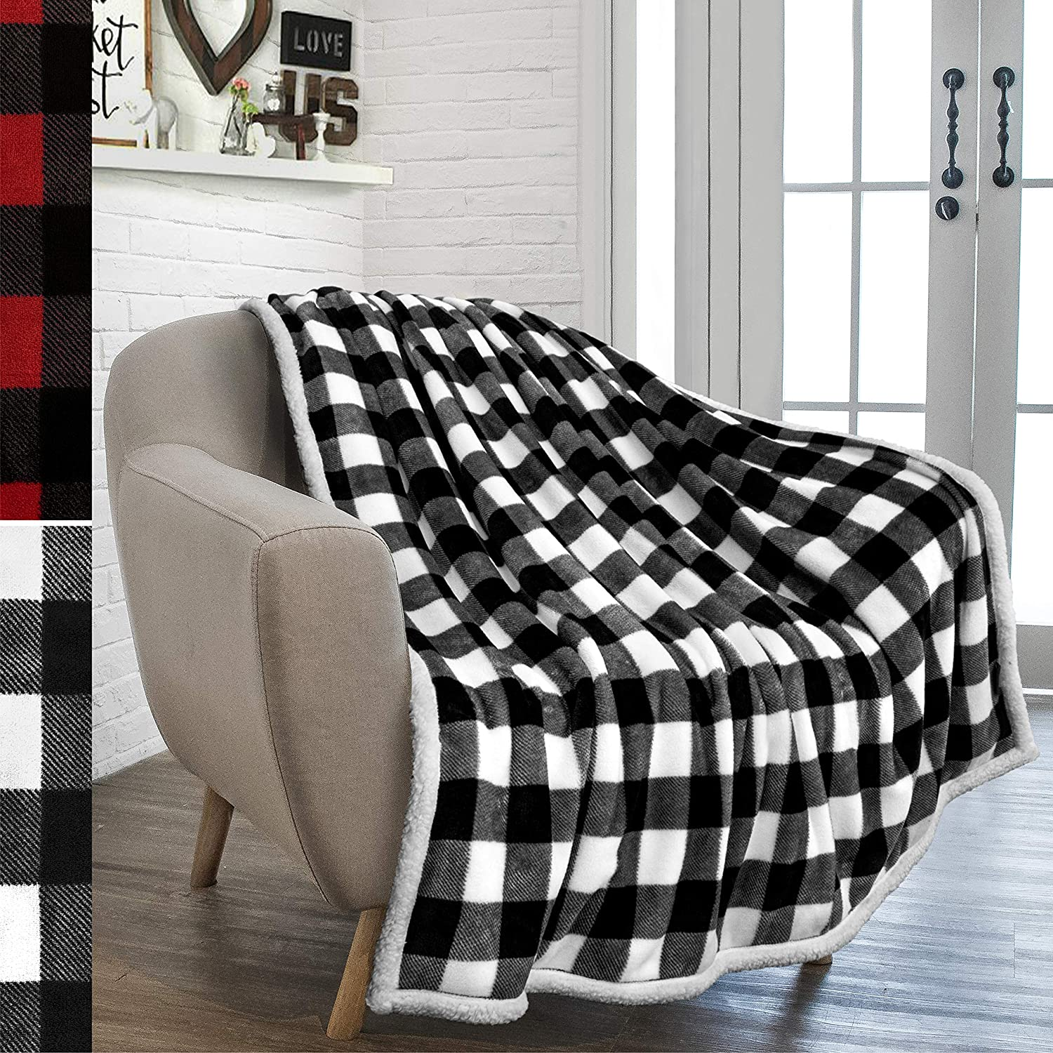 PAVILIA Buffalo Check Sherpa Blanket Throw | White Black Checkered Flannel Fleece Blanket | Cabin Plaid Warm Plush Microfiber Blanket for Couch Sofa | 50x60 Inches