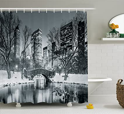 Ambesonne Landscape Shower Curtain By Cityscape New York City In Winter Central Park Snowy Buildings