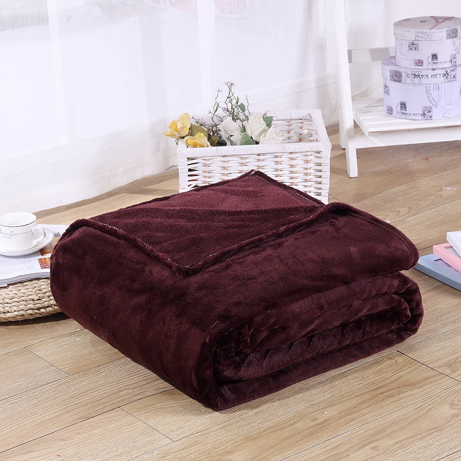Super Soft Velvet Plush Throw, Fleece Flannel Home Couch Baby Warm Blanket, Popular Neutral Colors, 27