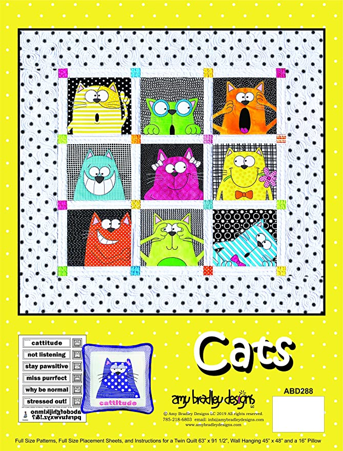 Cat Blue Bow Playing Cards Quilt Block Multi Sizes FrEE ShiPPinG WoRld WiDE