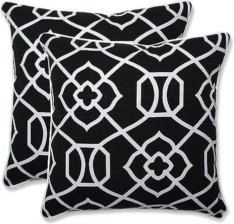 Amazon Com Pillow Perfect Outdoor Indoor Kirkland Throw Pillows 18 5 X Black 2 Pack Home Kitchen