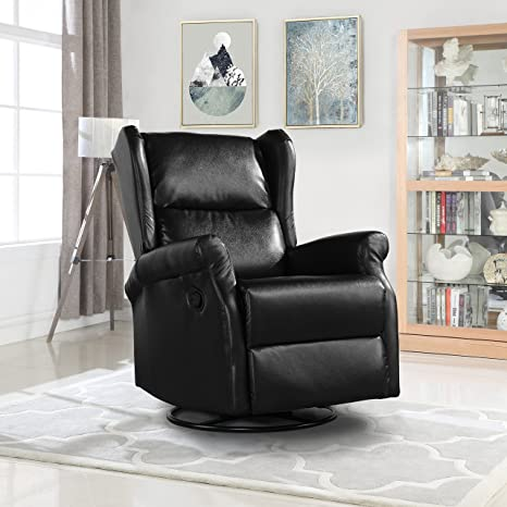Superb Reclining Swivel Accent Chair For Living Room Faux Leather Arm Chair Black Ncnpc Chair Design For Home Ncnpcorg