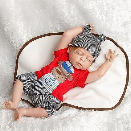 373cdfd79ca Amazon.com  SanyDoll Reborn Baby Doll Newborn Doll 22inch 55cm Magnetic  Lifelike Cute Lovely Baby Cute sleeping doll  Toys   Games