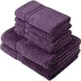 Pinzon by Amazon - Set di asciugamani in cotone egiziano, 2 asciugamani da bagno e 4 per le mani, colore: prugna