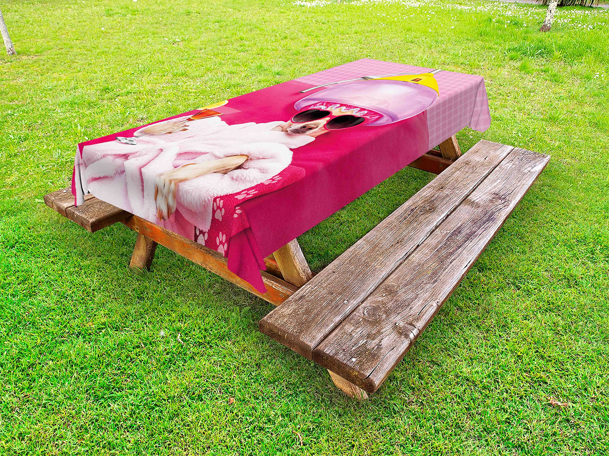 Lunarable Funny Outdoor Tablecloth, Chihuahua Dog Relaxing and Lying in Wellness Spa Fashion Puppy Comic Print, Decorative Washable Picnic Table Cloth, 58 X 84 inches, Magenta Baby Pink