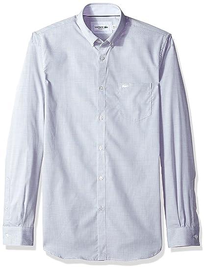 9d51fccf6 Lacoste Men s Long Sleeve with Pocket Textured Solid Poplin Regular Fit Woven  Shirt