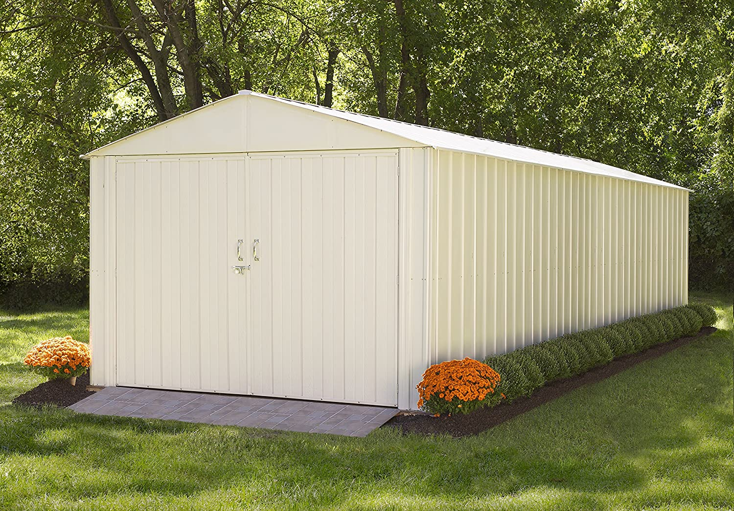 amazoncom steel storage shed 10 x 25 ft high gable galvanized eggshell sheds outdoor storage garden outdoor