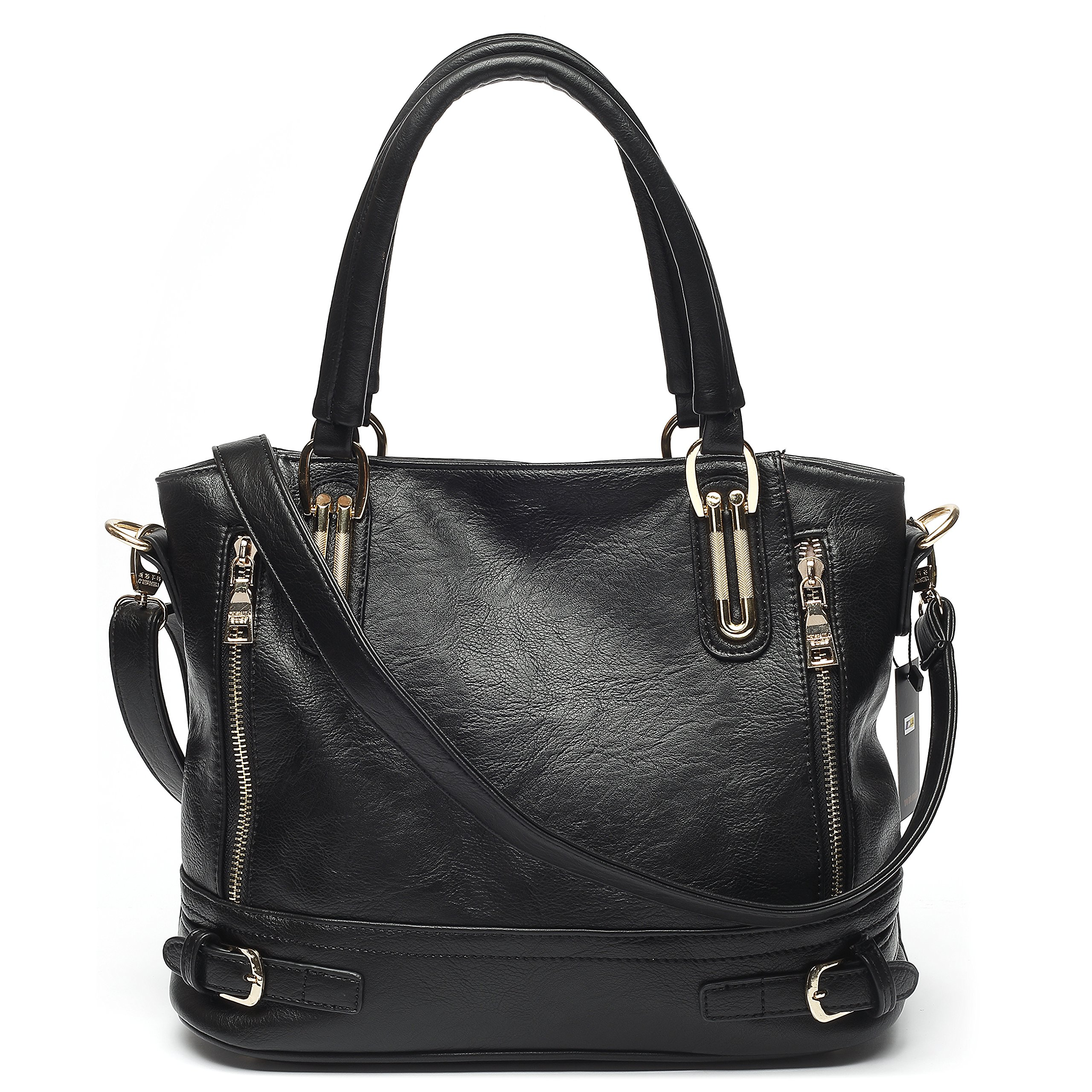 Mlife Medium Women Faux Leather Shoulder Handbag Hobos (Black) by Mlife