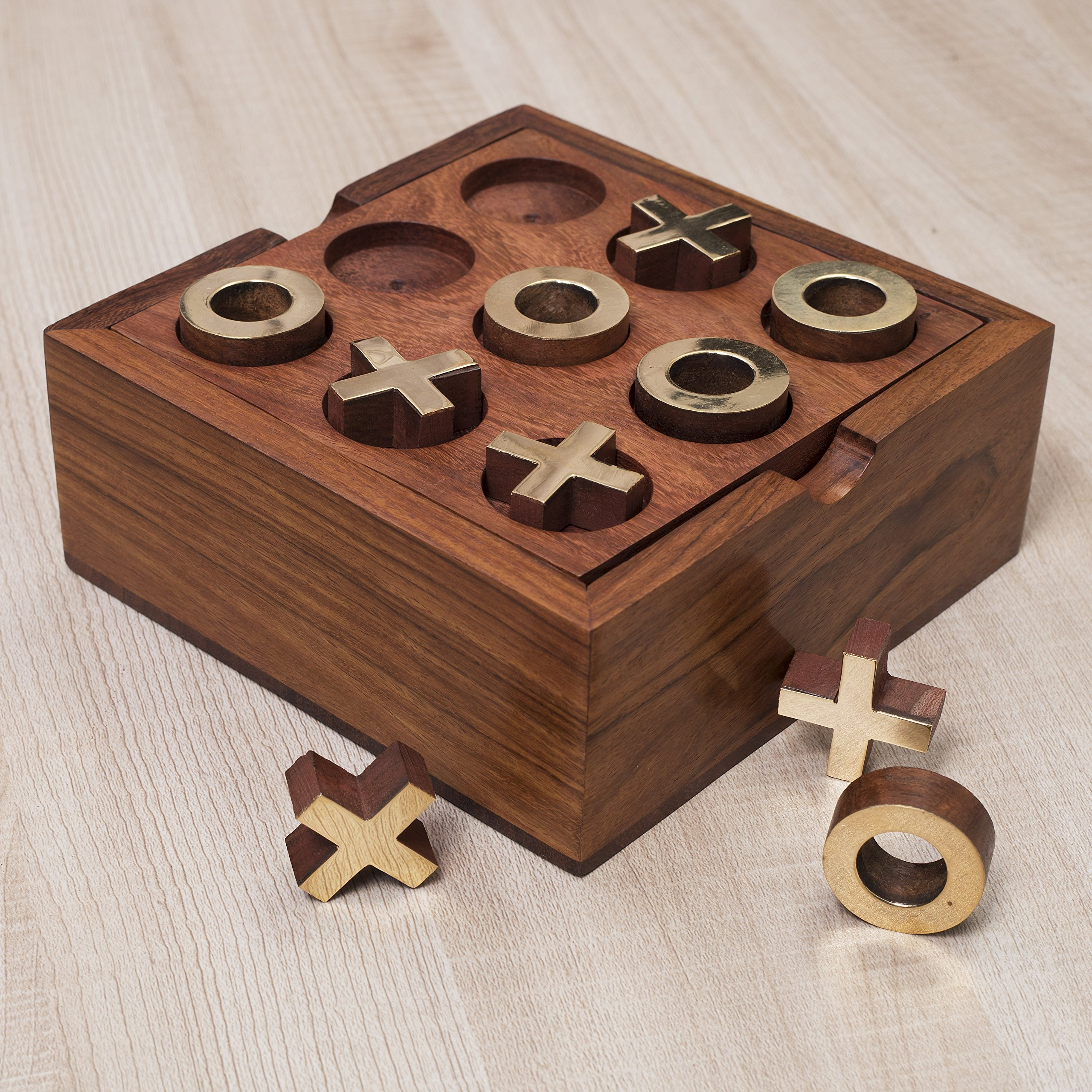 Rusticity Wood Tic Tac Toe & Solitaire Board Game- Set of 2 Games | Handmade |(5x5 in) by Rusticity