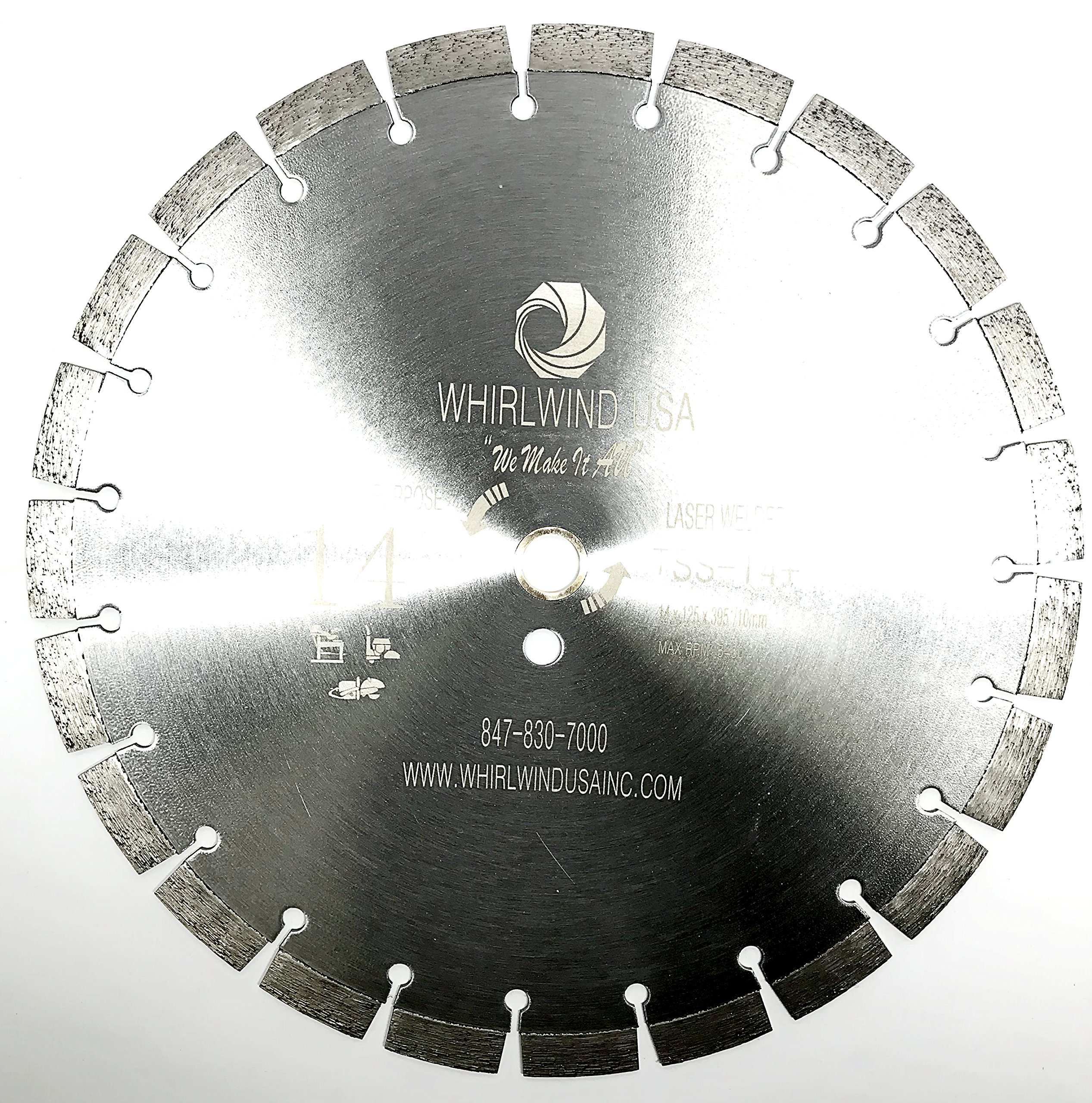 Whirlwind USA TSS 14 inch 15mm segment Laser Welded Dry or Wet Cutting General Purpose Segmented Diamond Saw Blades Cutting Concrete and Masonry (14'' 15mm seg)