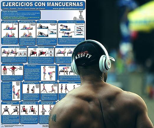 Amazon.com : Ejercicios con Mancuernas - Centro/Espalda/pecho y parte inferior del Cuerpo - Cartel - Dumbbell Exercises-Lower Body/Core/Chest and Back ...