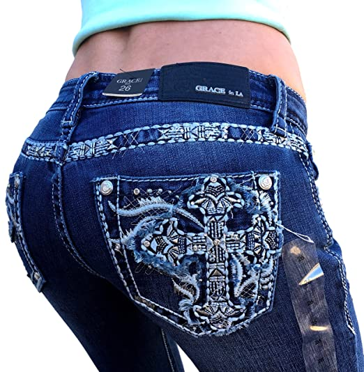 24fb06b24b0 Grace in LA Mid Rise Easy Boot Rhinestone Cross Embellished Embroidered  Bootcut Stretch Jeans (25