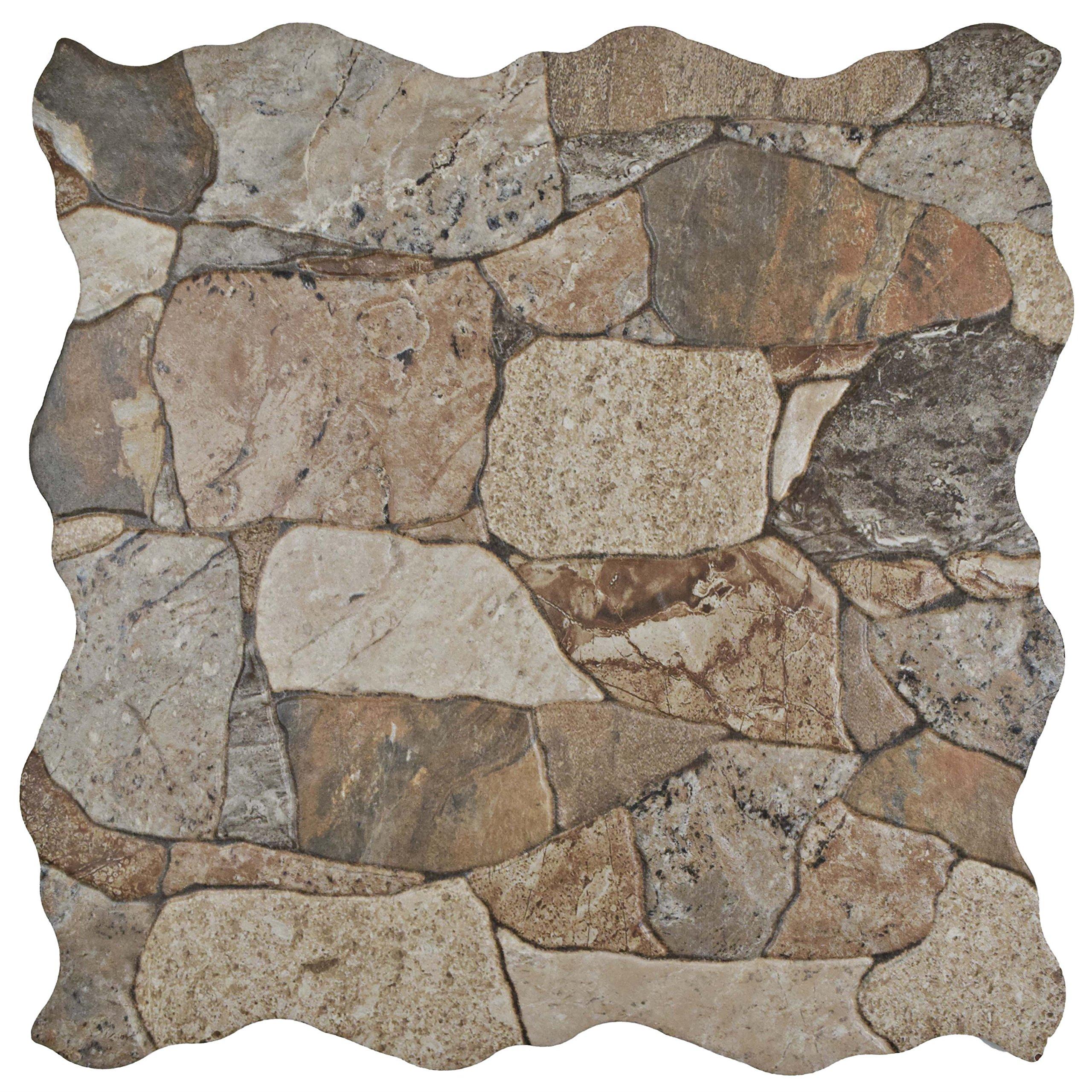 SomerTile Brown/Gray/Green FAZ18ATG Roccia Ceramic Floor and Wall Tile, 16.88'' x 16.88'', Gris, 7 Piece