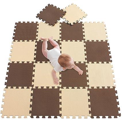 meiqicool Alfombrillas para Puzzles | Alfombra Puzzle para Niños Bebe Infantil Suelo de Goma EVA Suave 142 x 114 cm 18 Piezas Marrón Beige 0610
