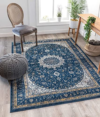Well Woven Luxbury Mahal Traditional Vintage Medallion Oriental Blue Area Rug 9'3″ x 12'3″