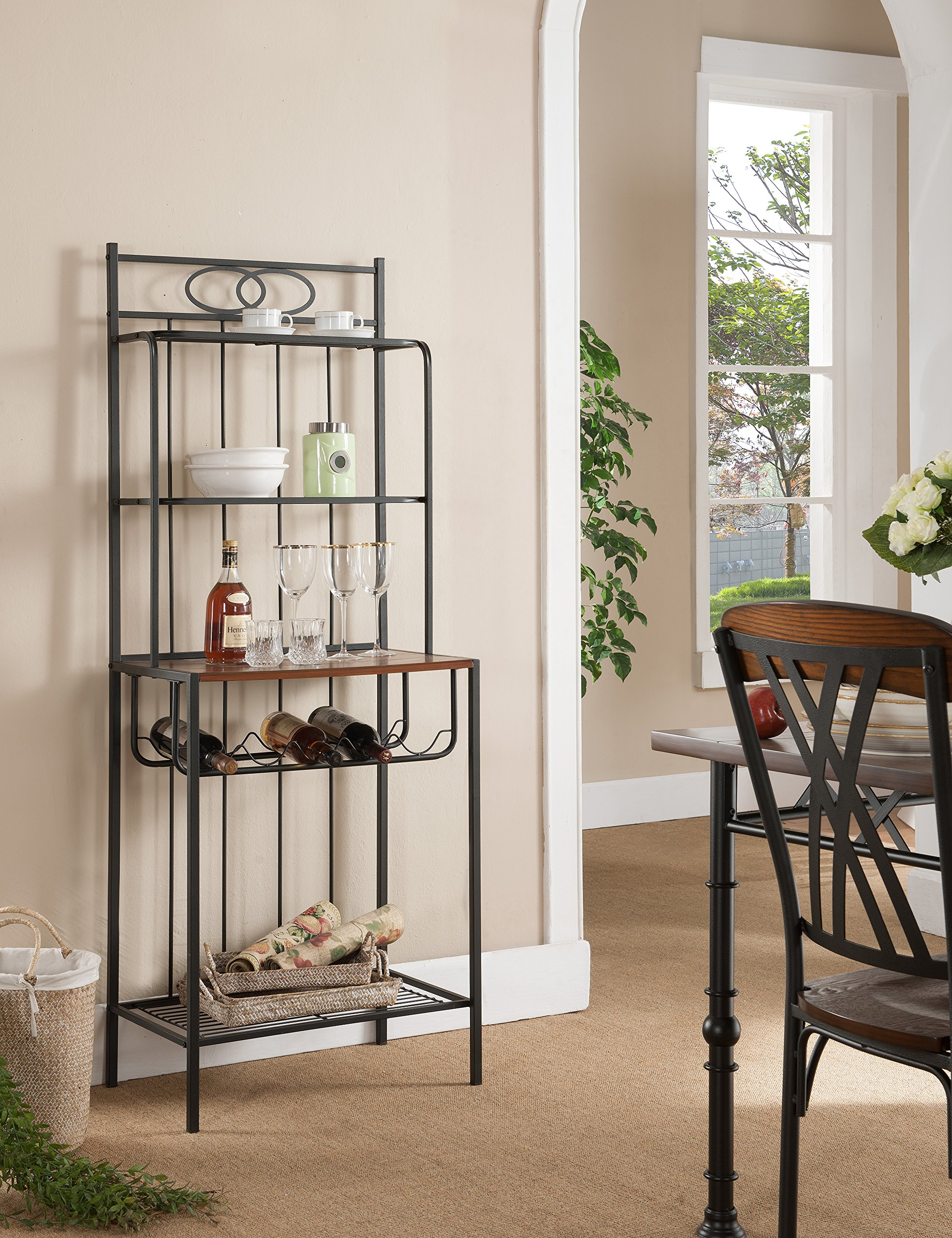 Kings Brand Furniture Metal with Wood Bakers Rack with Wine Storage by Kings Brand Furniture
