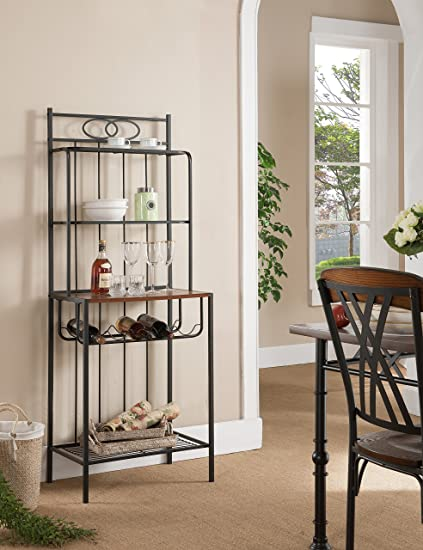Merveilleux Kings Brand Furniture Metal With Wood Bakers Rack With Wine Storage