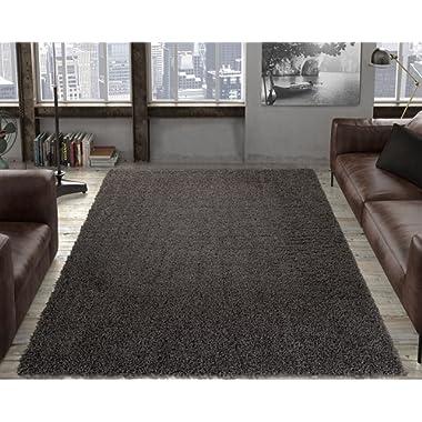 Ottomanson Collection shag Area Rug, 5'3  X 7', Dark Gray