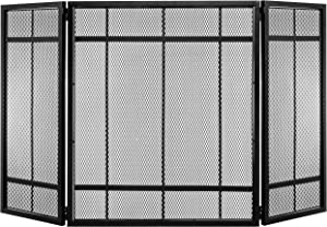 MyGift 3-Panel Black Grated Steel Fireplace Screen