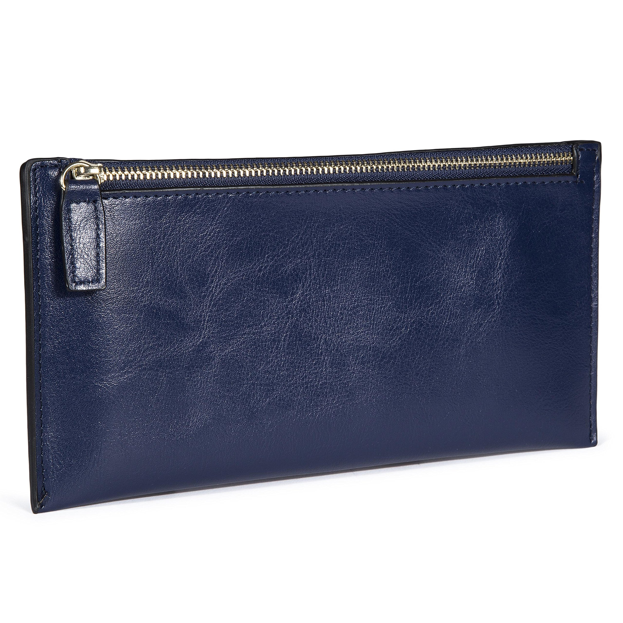 Genold Leather Long Wallet Zipper Clutch Coin Purse Slim Card Case Holder for Women with 8 Card Slots Blue