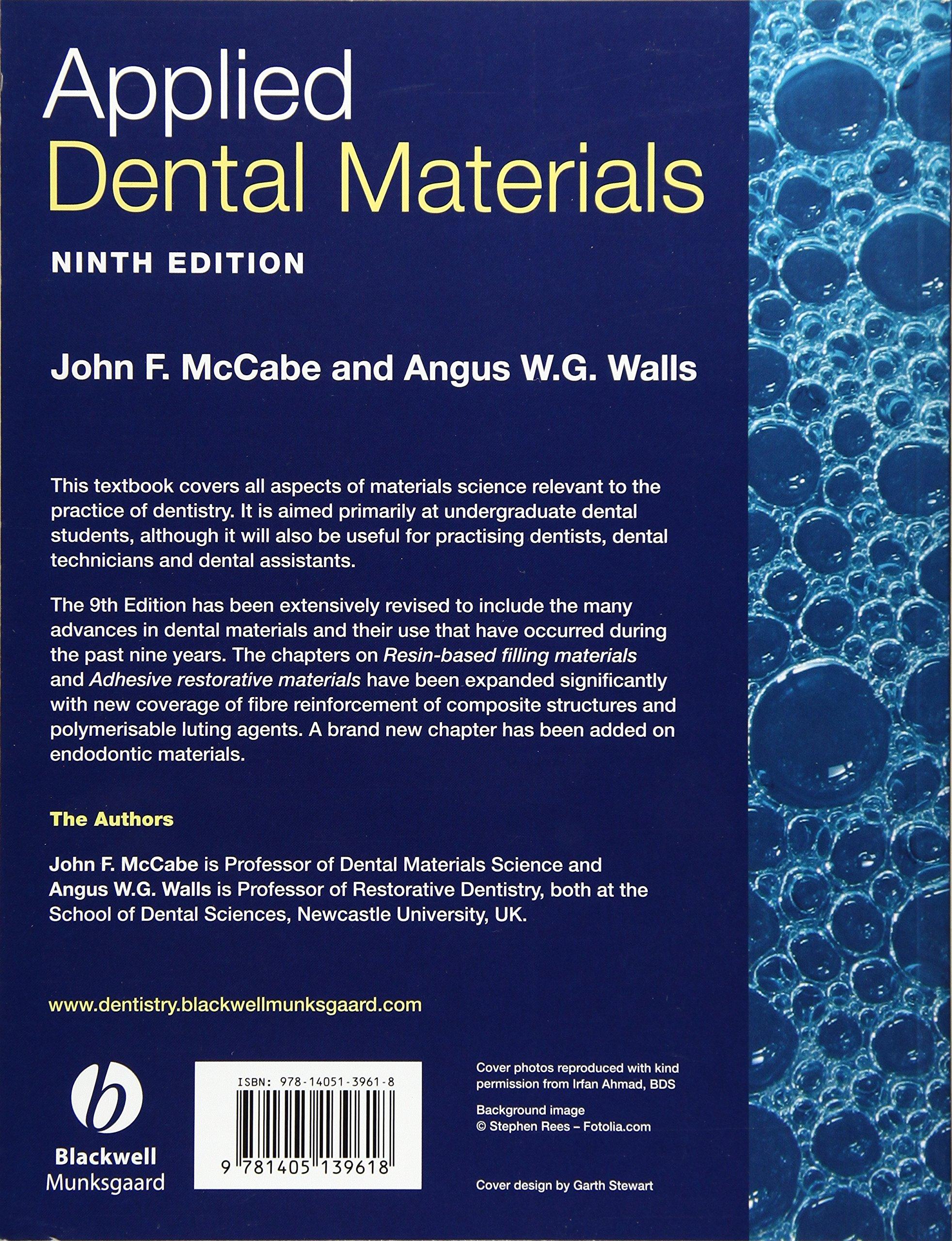 Applied Dental Materials, 9th Edition: Amazon.de: John F. McCabe ...