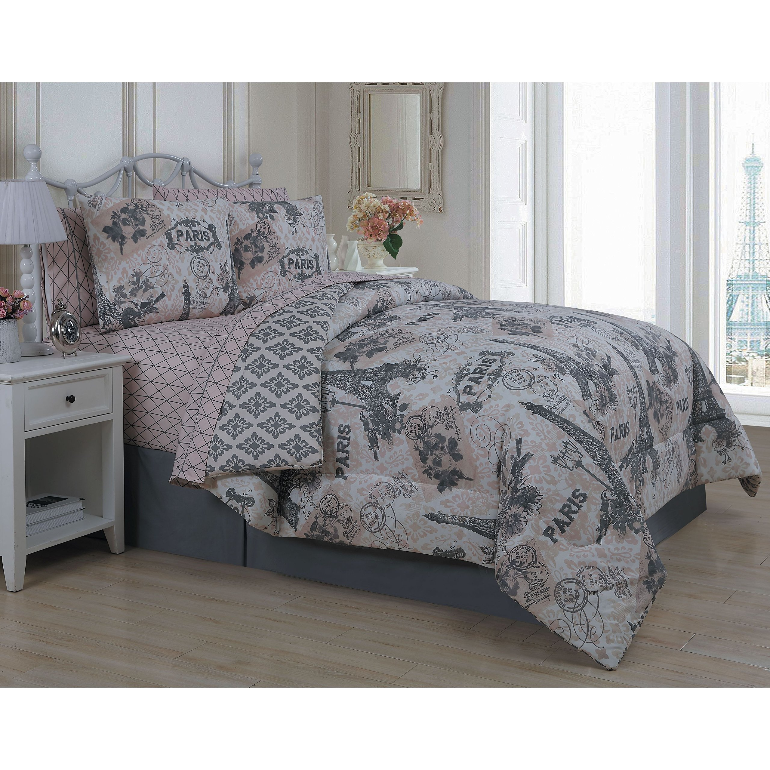 8 Piece Girls Paris Love Themed Comforter Set King Size, All Over Medallion Eiffel Tower Reversible Bedding, Multi Flowers France Inspire, Damask Patchwork Background Pattern Vibrant Colors Blush Pink