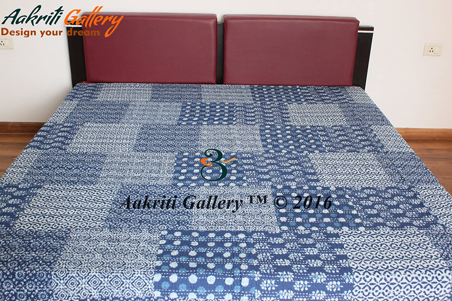 Aakriti Gallery Kantha INDIGO Print 100% cotton Bedspread Printed Quilt Throw Indian Handmade bedsheets (Double with 2 cushion covers, Indigo) KQDIN011