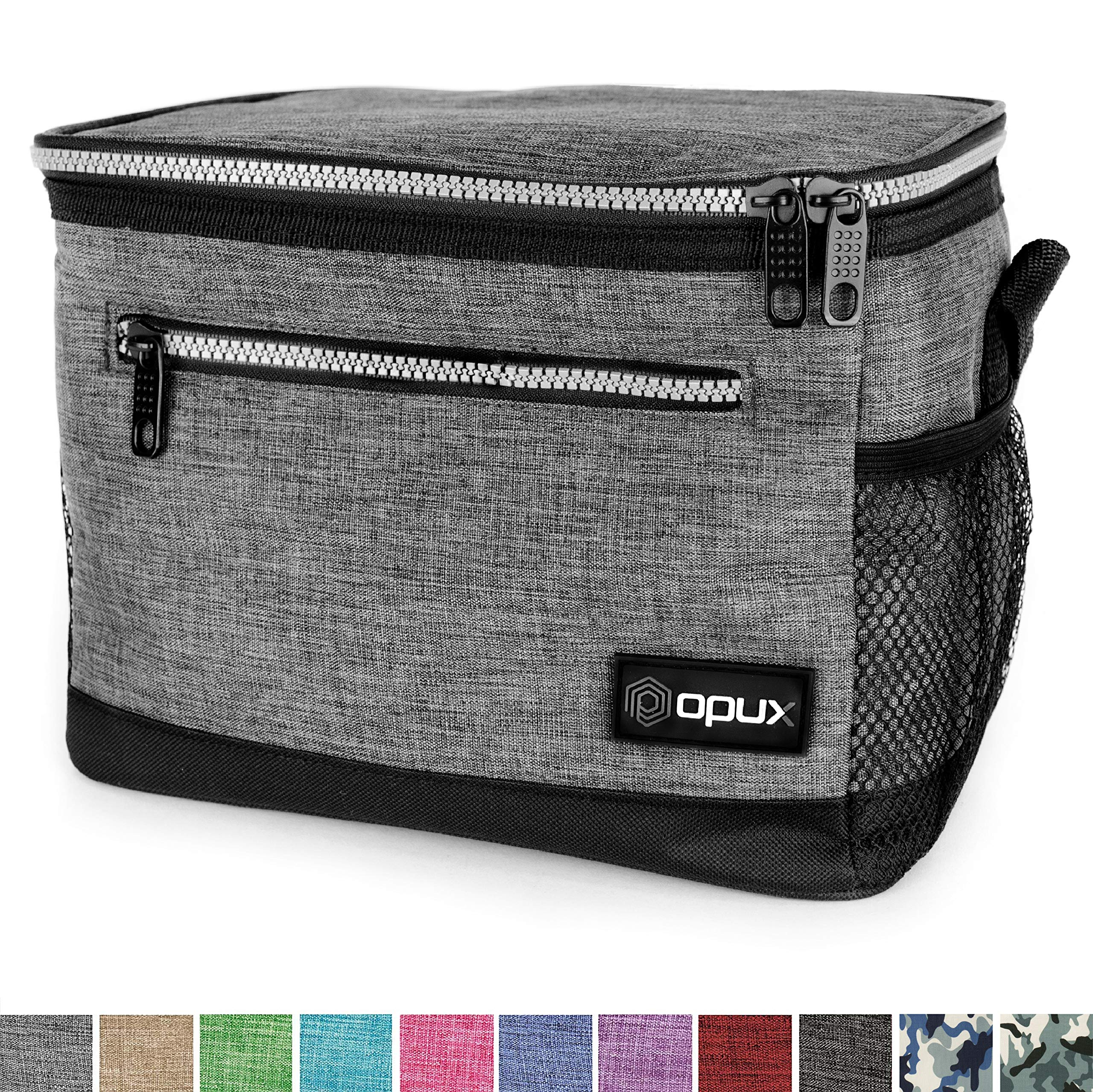 OPUX Premium Lunch Box, Insulated Lunch Bag for Men Women Adult | Durable School Lunch Pail for Boys, Girls, Kids | Soft Leakproof Medium Lunch Cooler Tote for Work Office | Fits 8 Cans (Heather Grey) by OPUX