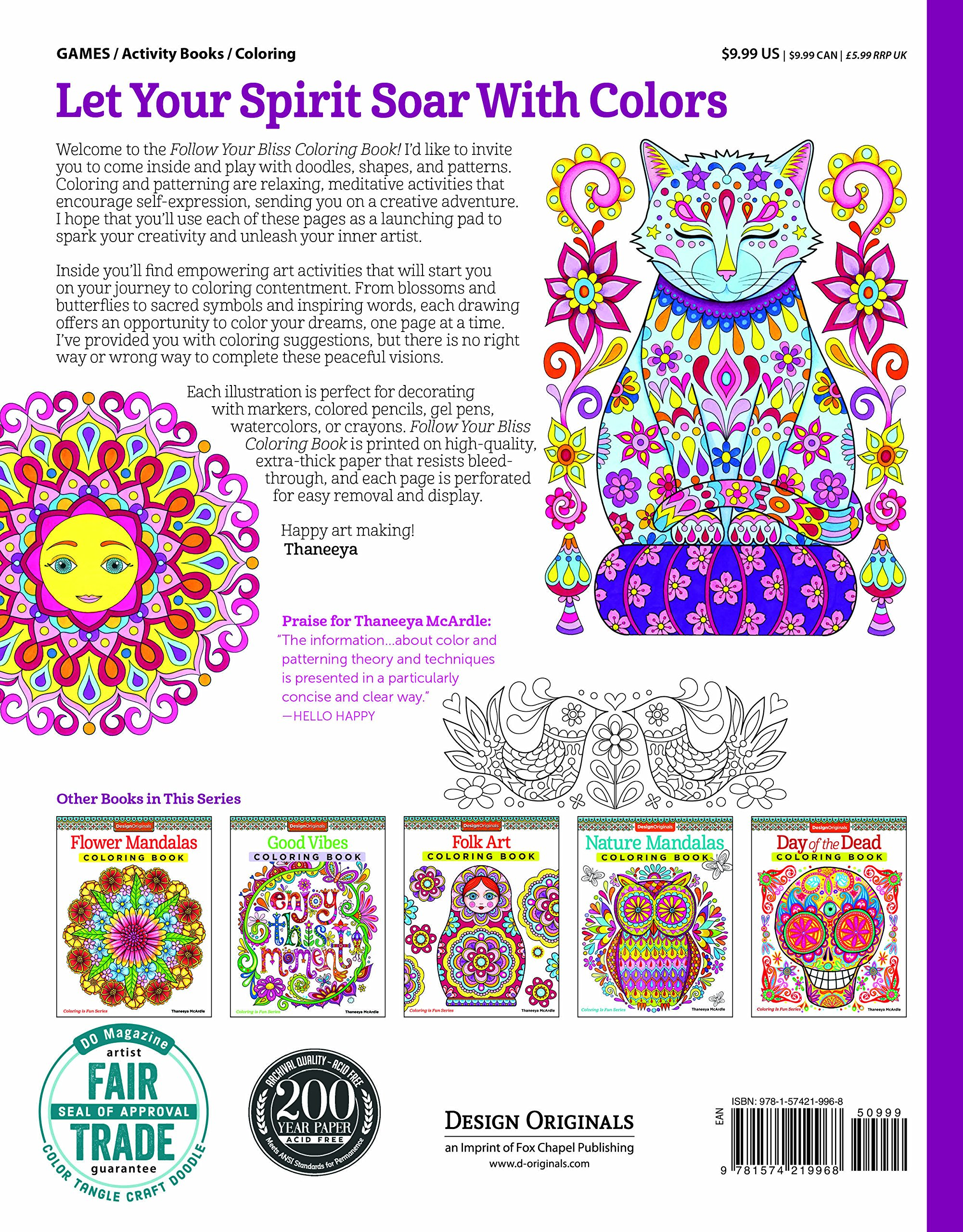 Amazon Follow Your Bliss Coloring Book Activity Design Originals 0499994340788 Thaneeya McArdle Books