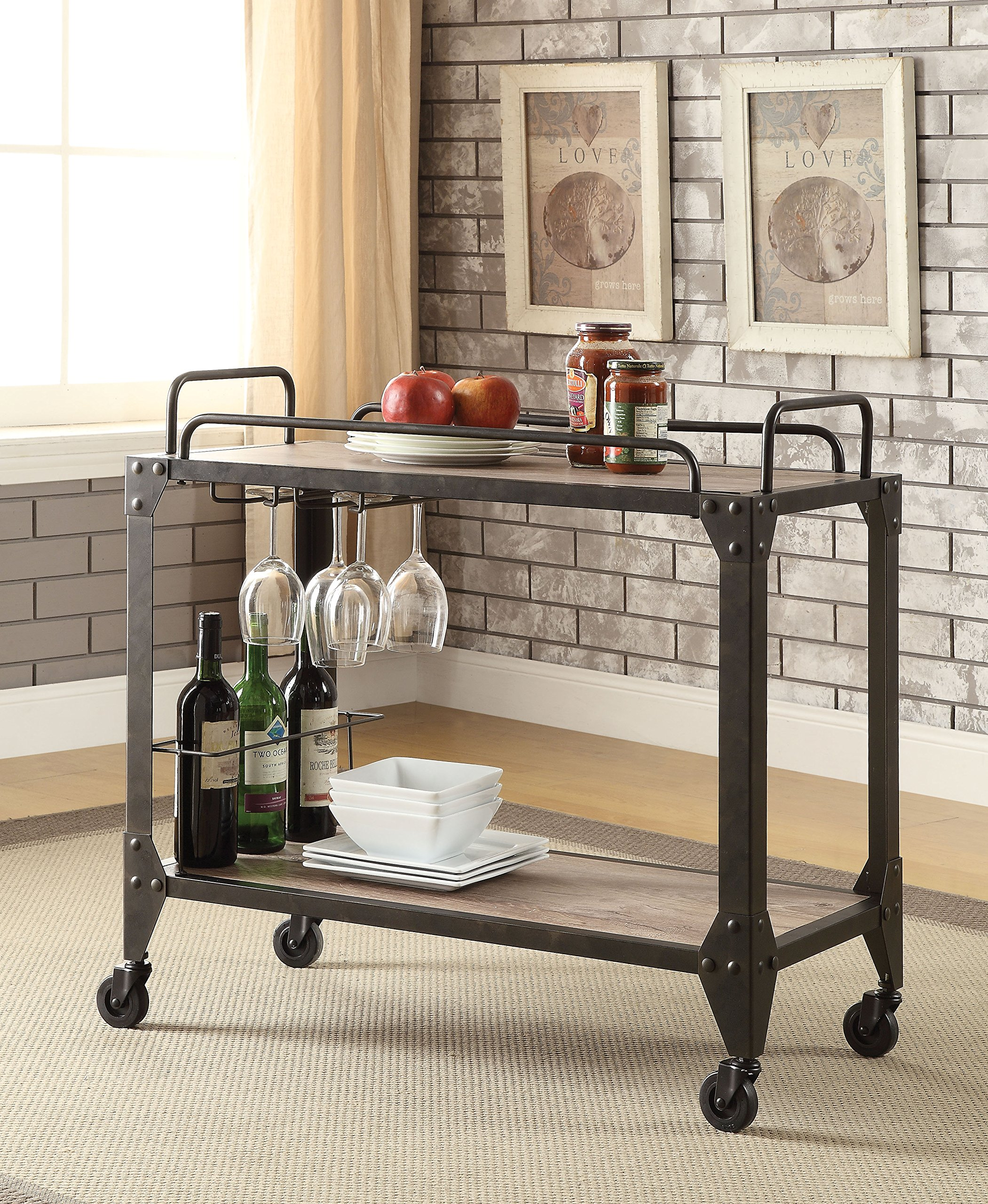 ACME Caitlin Rustic Oak and Black Serving Cart by Acme Furniture