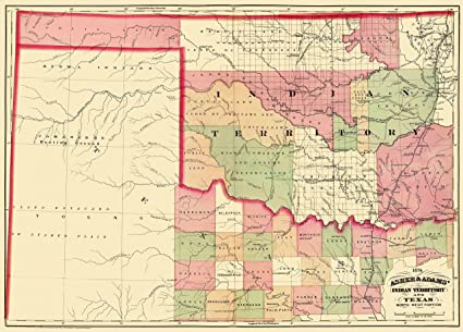 Amazon.com: Old State Map - Indian Territory, North West Texas 1874 ...