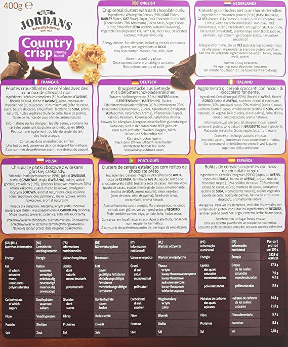 Jordans - Country crisp - Bolitas de cereales crujientes con rizos de chocolate negro - 400 g: Amazon.es: Amazon Pantry
